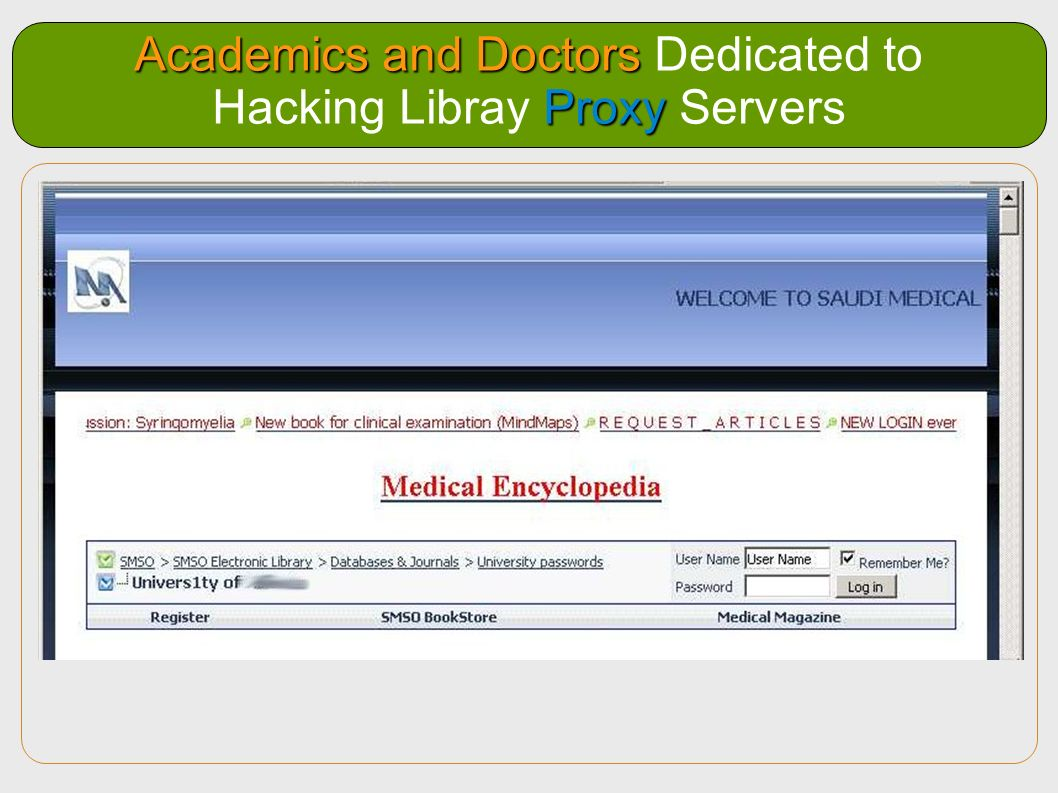 Academics and Doctors Dedicated to Hacking Libray Proxy Servers