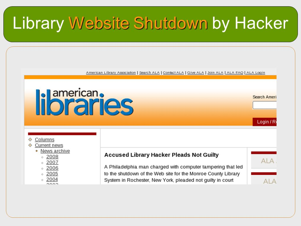 Library Website Shutdown by Hacker