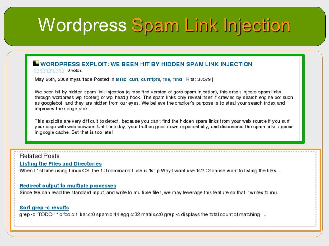 Wordpress Spam Link Injection