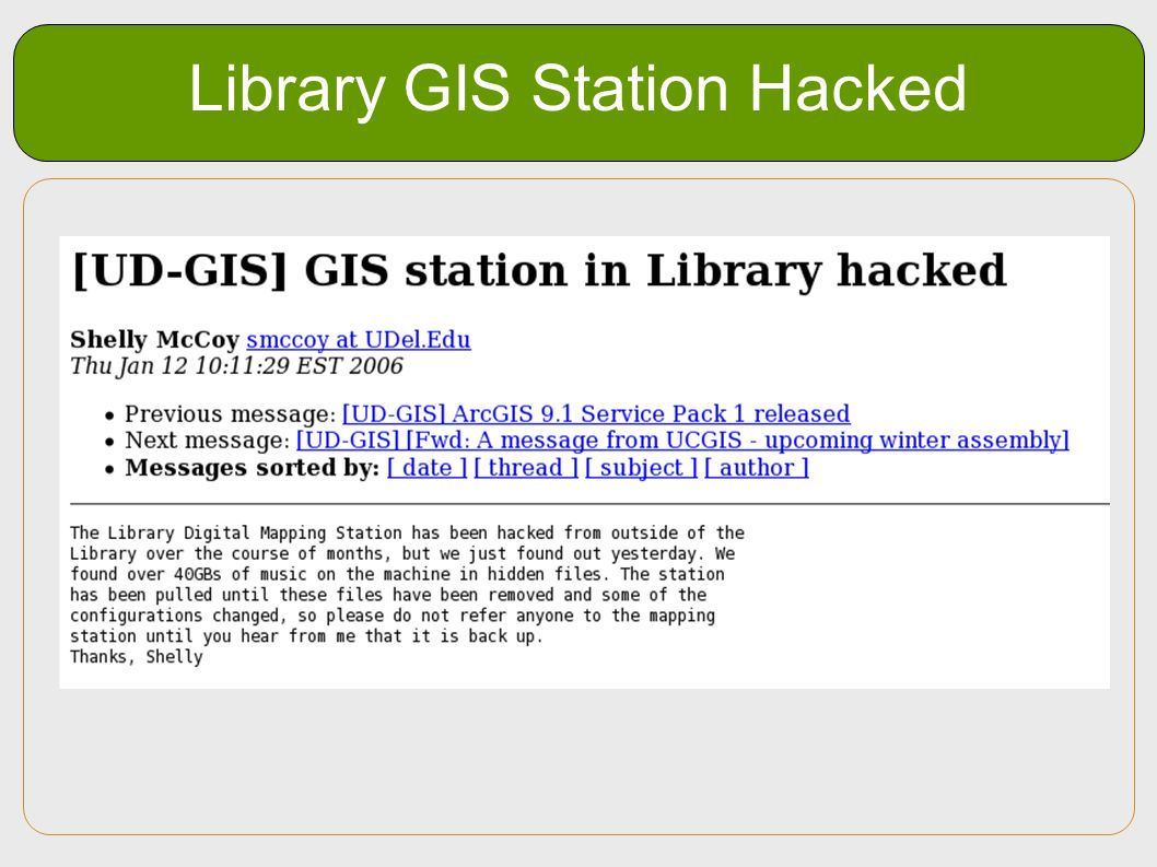 Library GIS Station Hacked