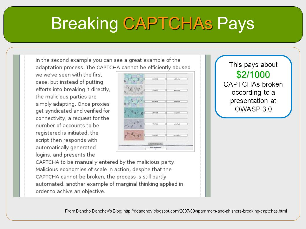 Breaking CAPTCHAs Pays