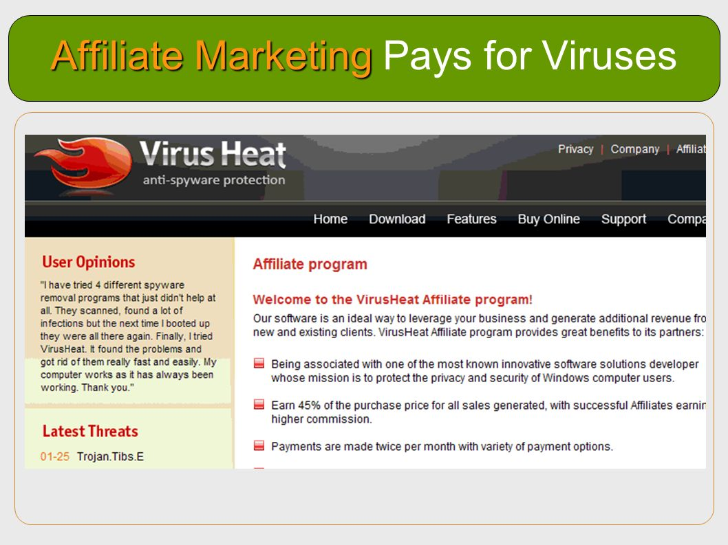 Affiliate Marketing Pays for Viruses