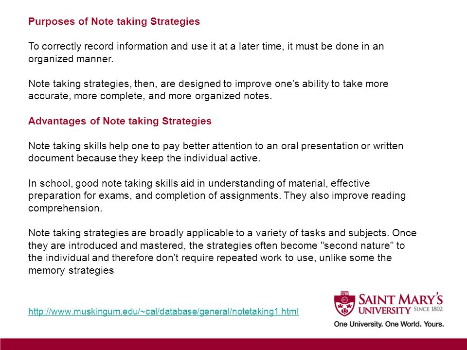 Purposes of Note taking Strategies