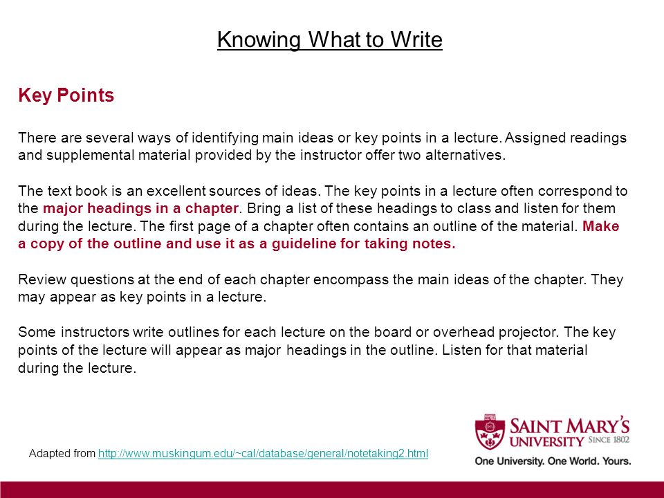 Knowing What to Write Key Points