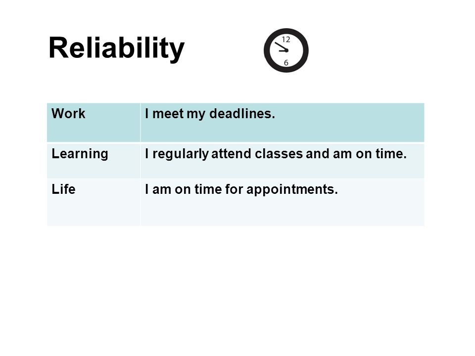 Reliability Work I meet my deadlines. Learning