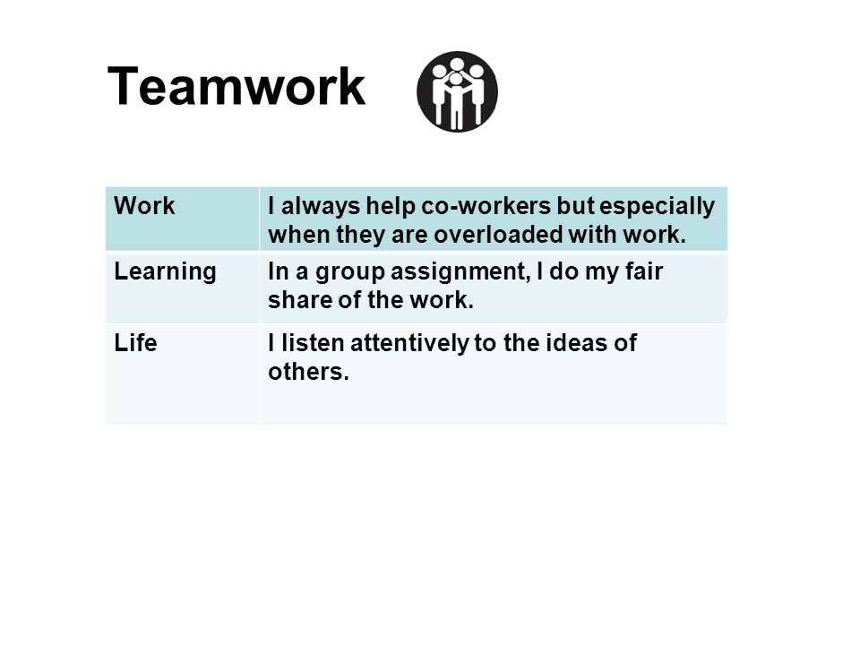 Teamwork Work. I always help co-workers but especially when they are overloaded with work. Learning.