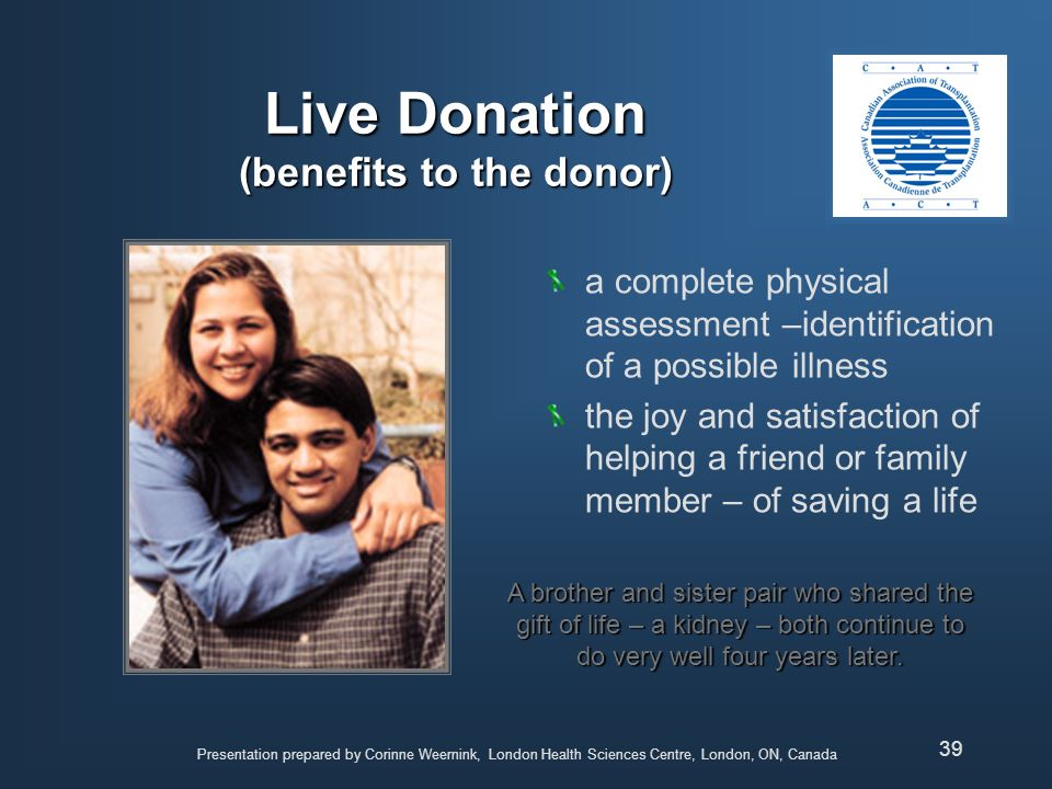 Live Donation (benefits to the donor)
