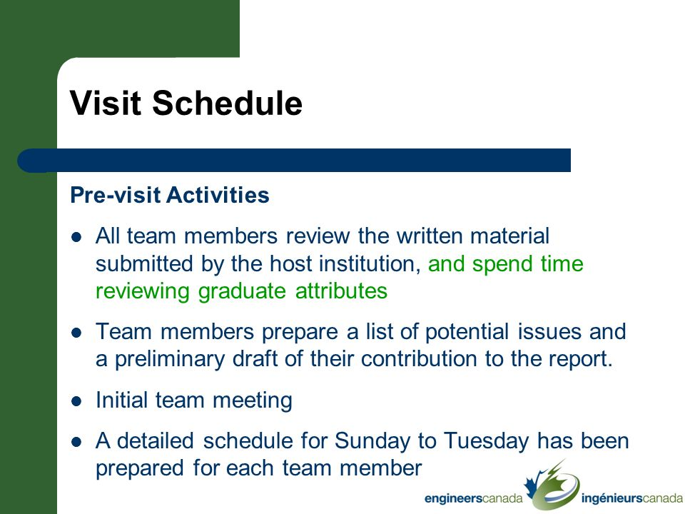 Visit Schedule Pre-visit Activities