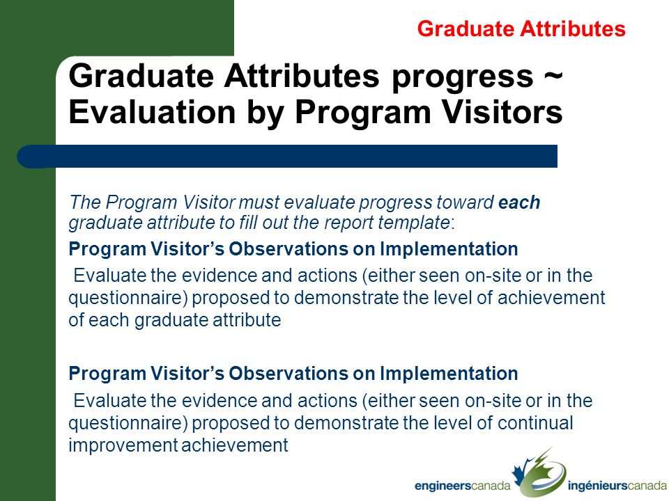 Graduate Attributes progress ~ Evaluation by Program Visitors