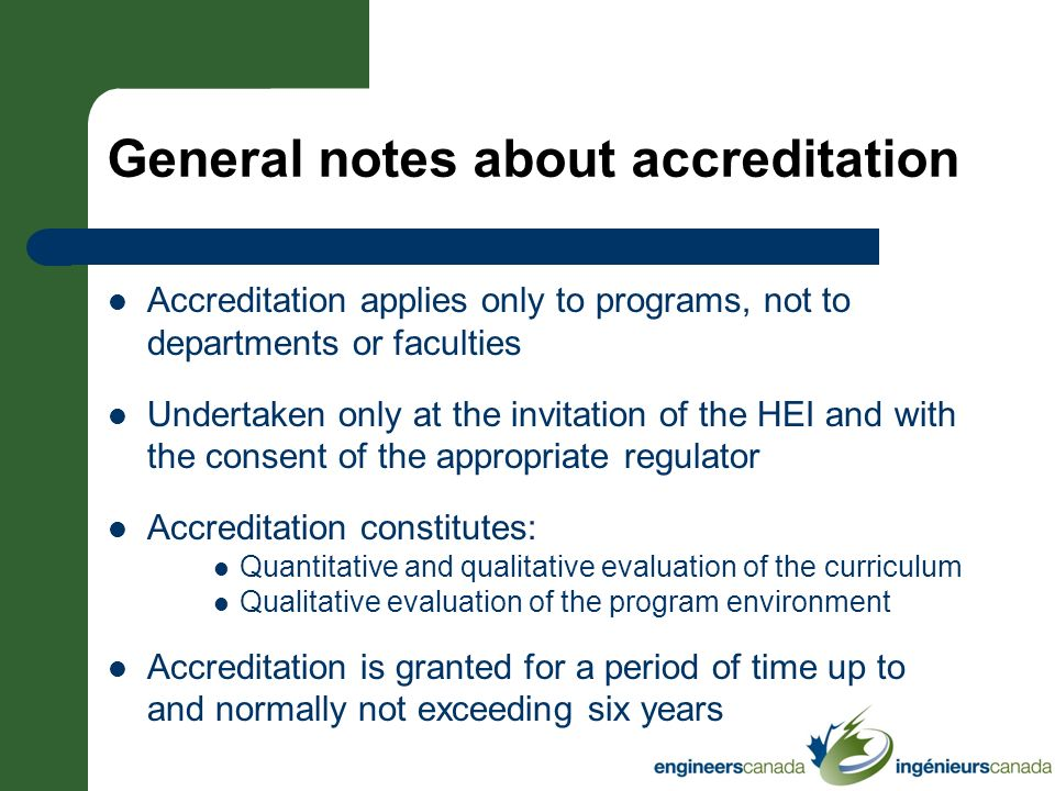 General notes about accreditation