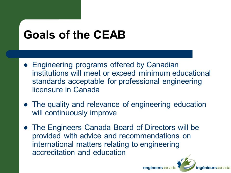 * 07/16/96. Goals of the CEAB.