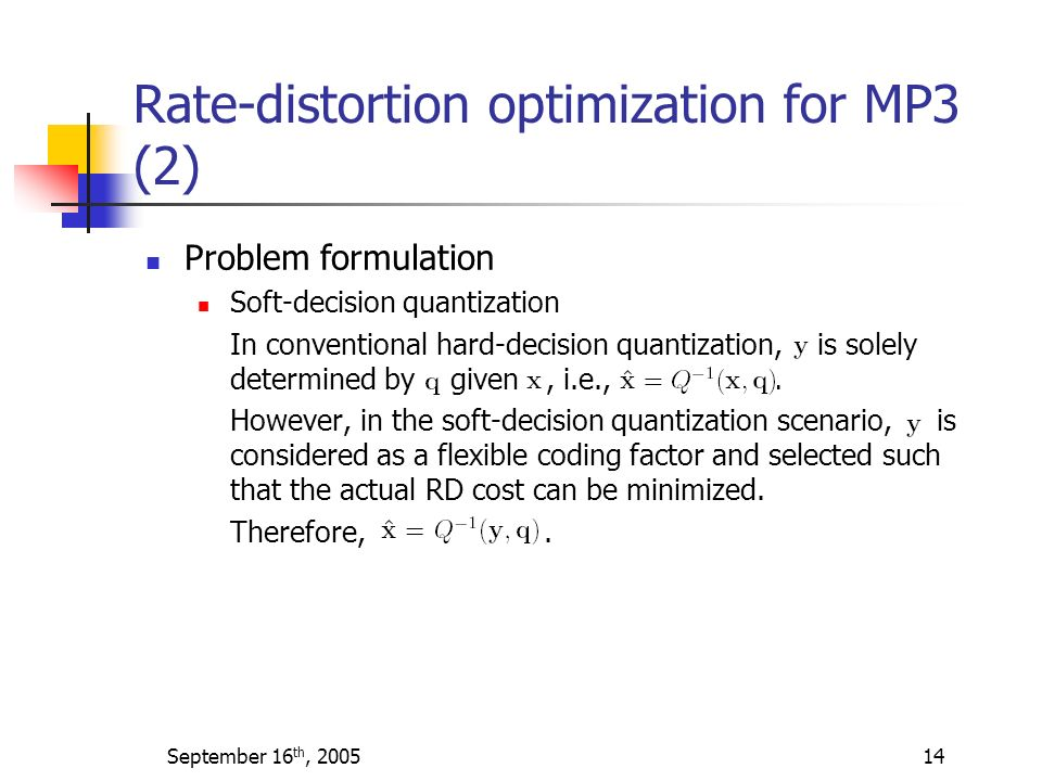 Rate-distortion optimization for MP3 (2)