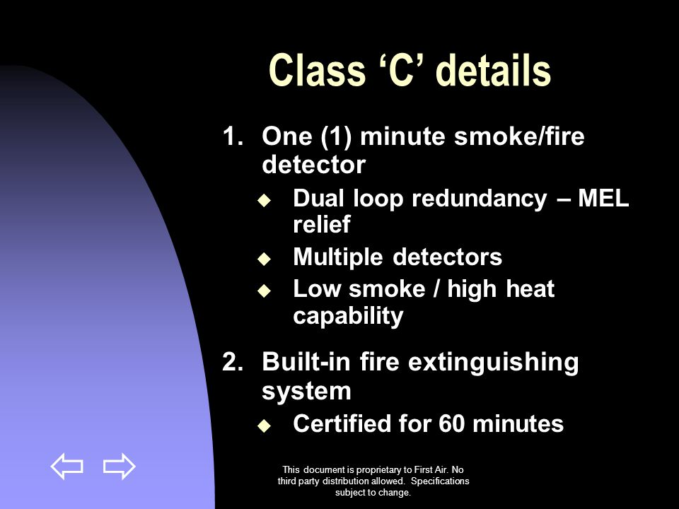 Class 'C' details One (1) minute smoke/fire detector