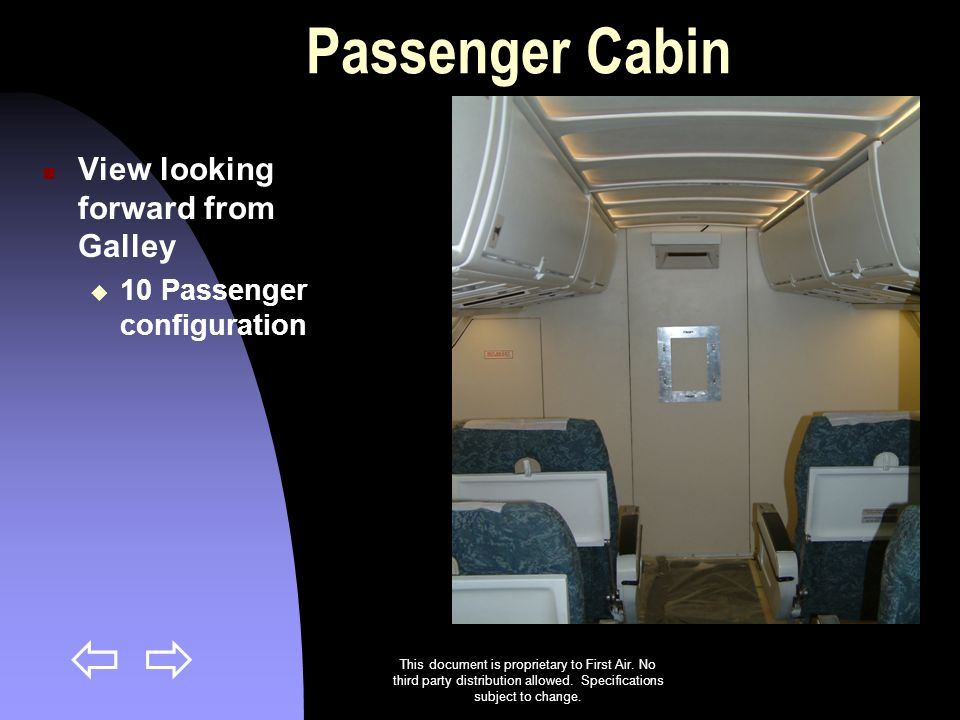 Passenger Cabin View looking forward from Galley