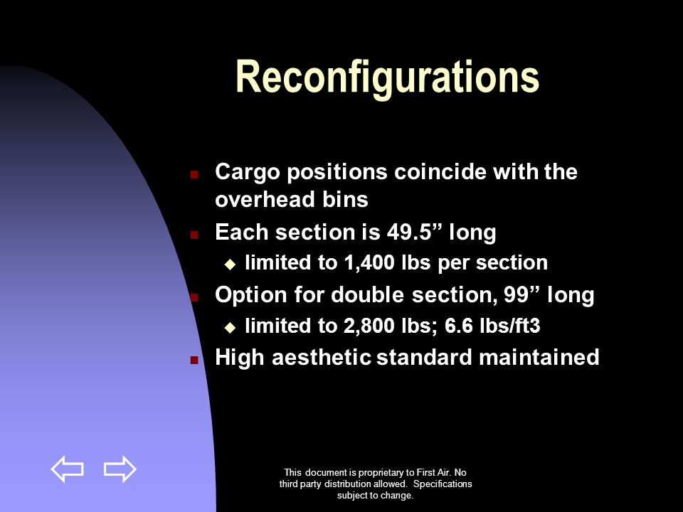 Reconfigurations Cargo positions coincide with the overhead bins