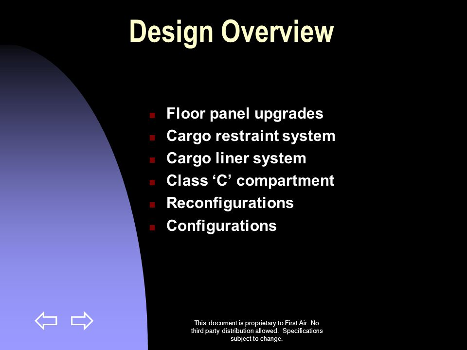 Design Overview Floor panel upgrades Cargo restraint system
