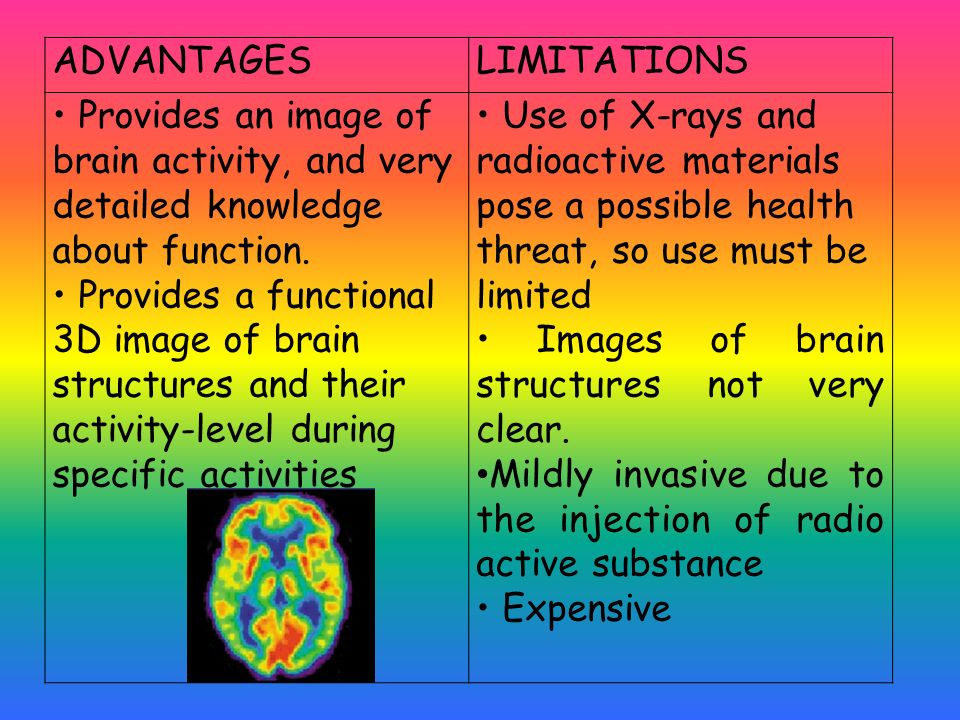 ADVANTAGES LIMITATIONS. • Provides an image of brain activity, and very detailed knowledge about function.