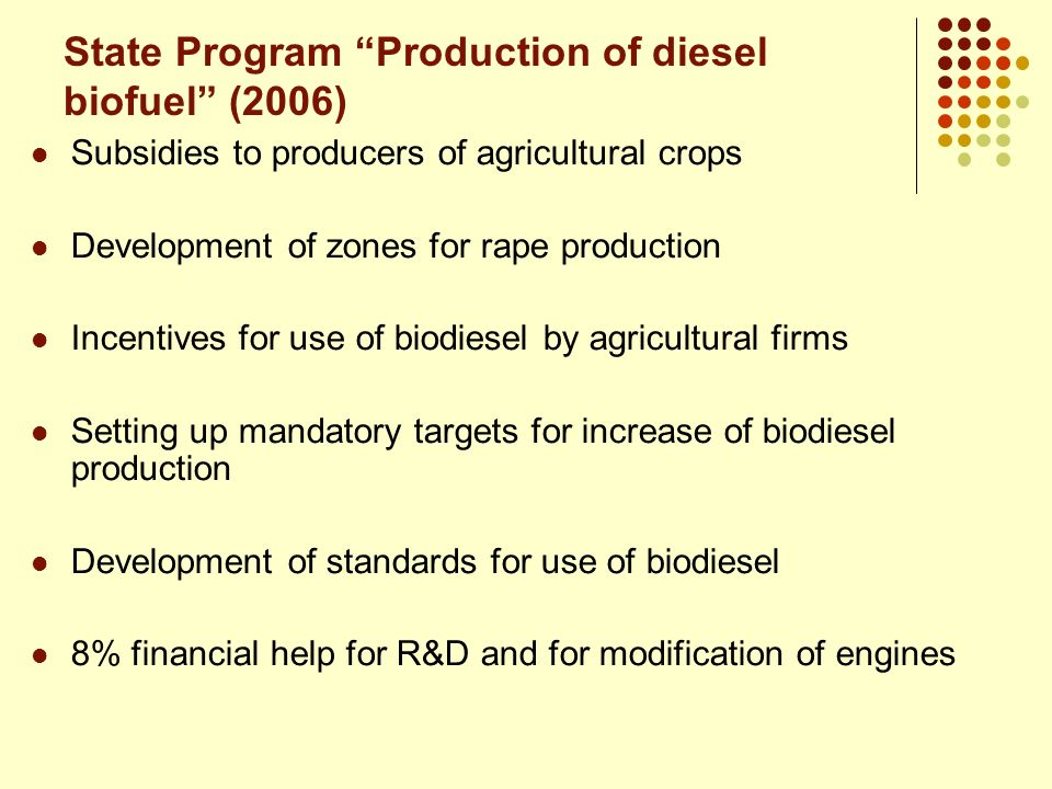 State Program Production of diesel biofuel (2006)