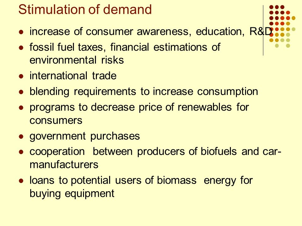 Stimulation of demand increase of consumer awareness, education, R&D