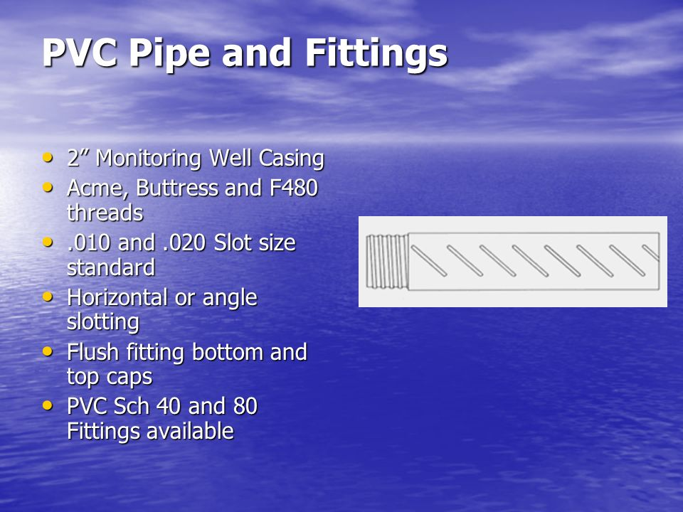 PVC Pipe and Fittings 2 Monitoring Well Casing