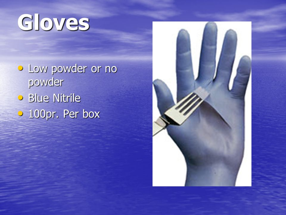 Gloves Low powder or no powder Blue Nitrile 100pr. Per box