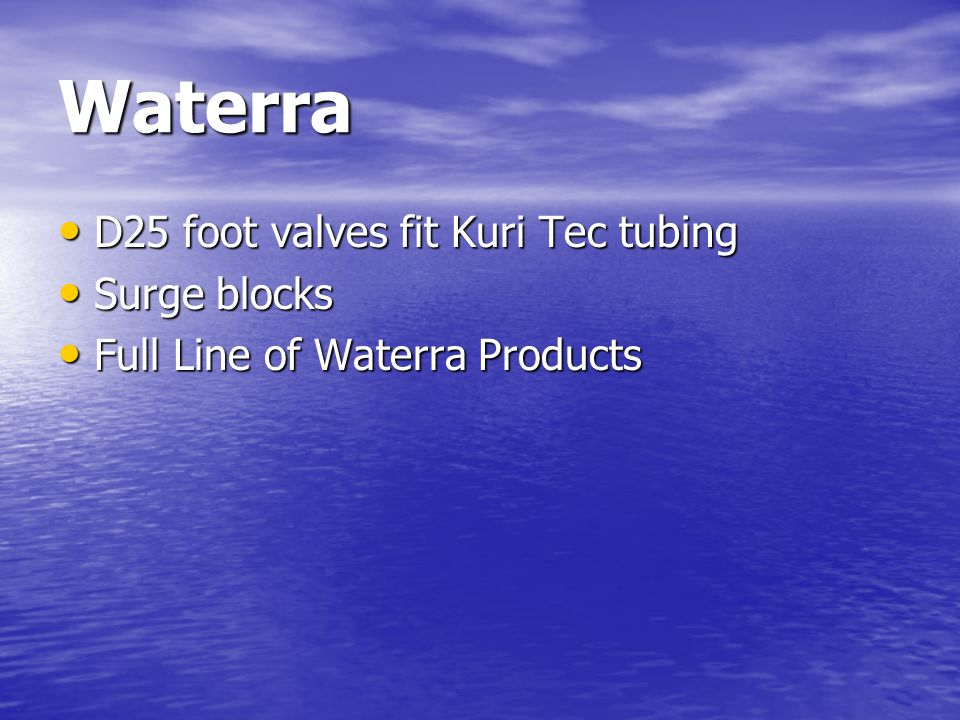 Waterra D25 foot valves fit Kuri Tec tubing Surge blocks