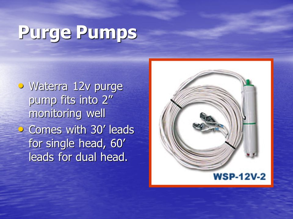 Purge Pumps Waterra 12v purge pump fits into 2 monitoring well