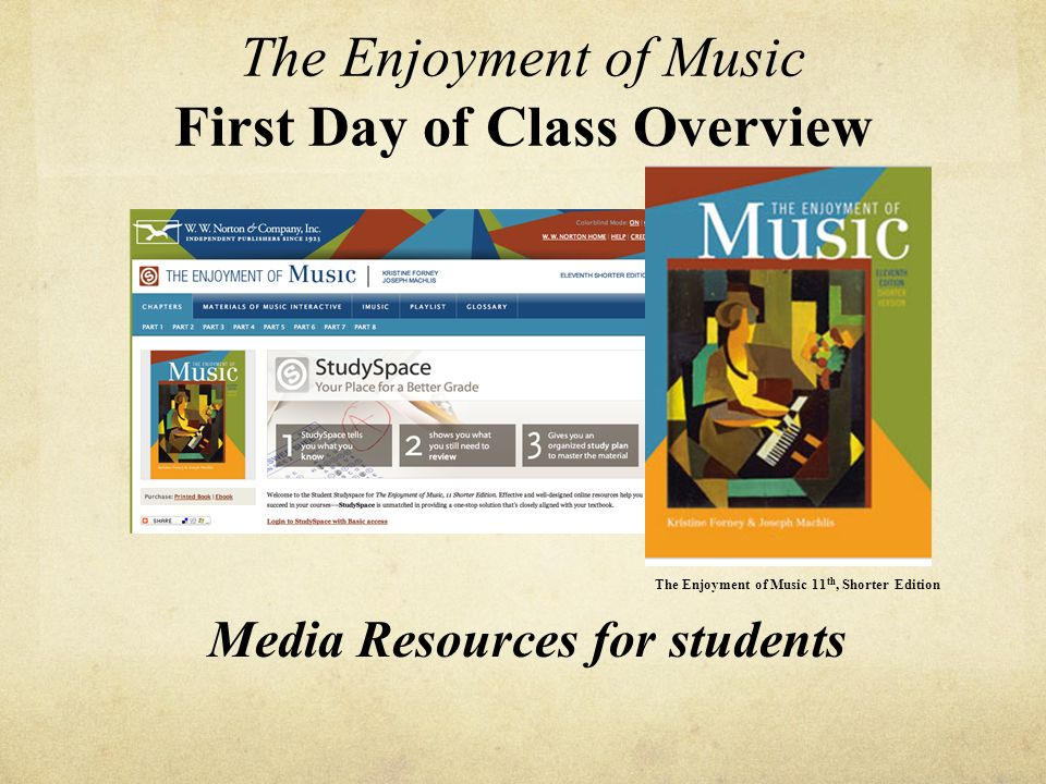 The Enjoyment Of Music First Day Of Class Overview Ppt