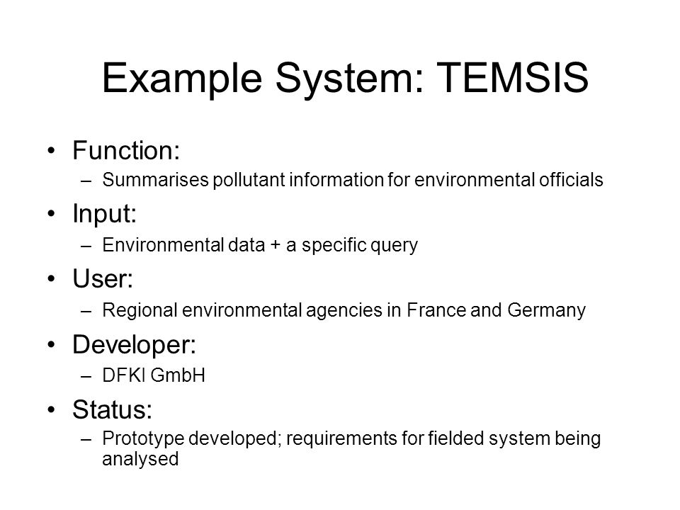 Example System: TEMSIS