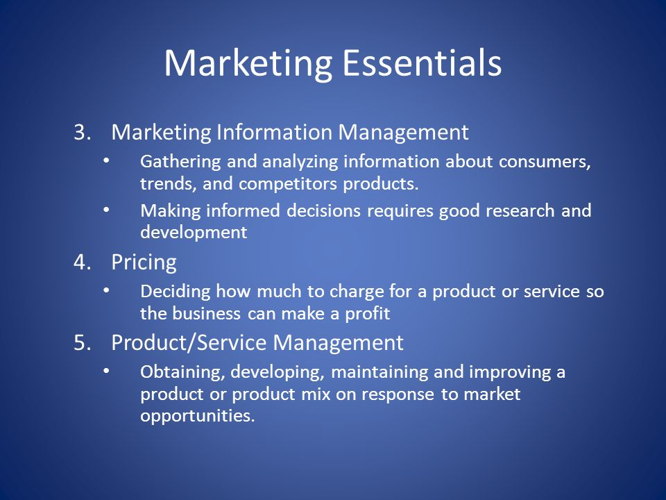 Marketing Essentials Marketing Information Management Pricing