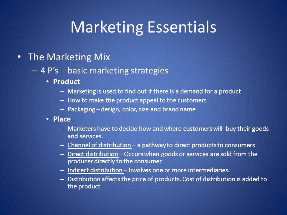 Marketing Essentials The Marketing Mix