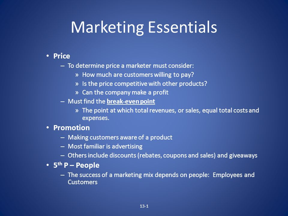 Marketing Essentials Price Promotion 5th P – People