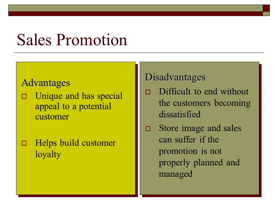 Sales Promotion Disadvantages Advantages
