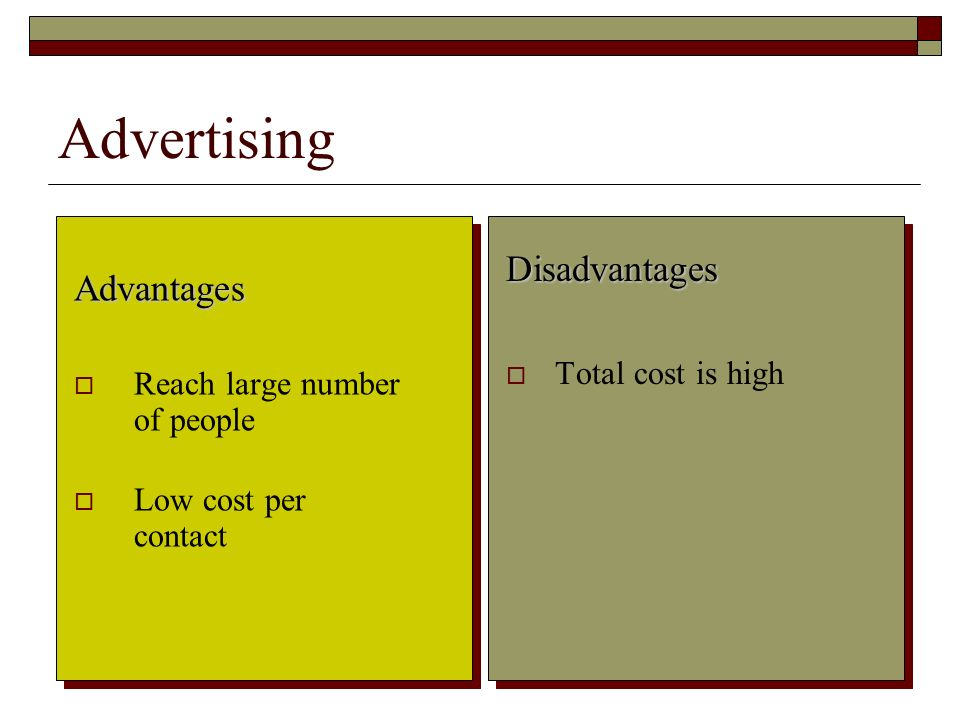 Advertising Disadvantages Advantages Total cost is high