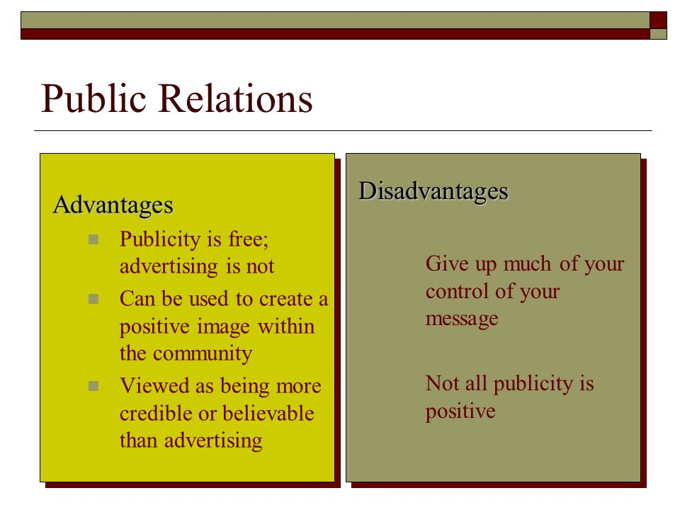 Public Relations Disadvantages Advantages