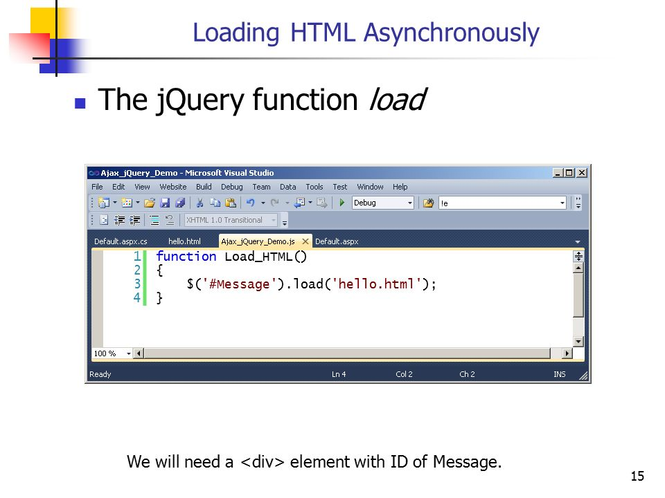 Loading HTML Asynchronously