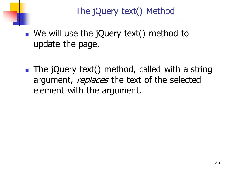 The jQuery text() Method