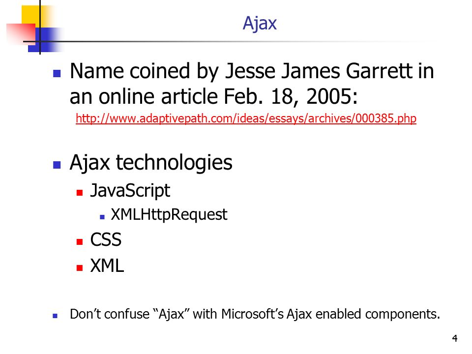 Name coined by Jesse James Garrett in an online article Feb. 18, 2005: