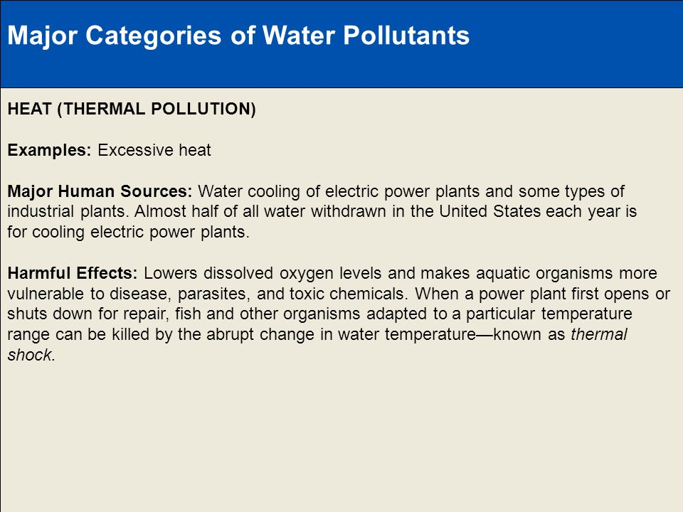 Major Categories of Water Pollutants