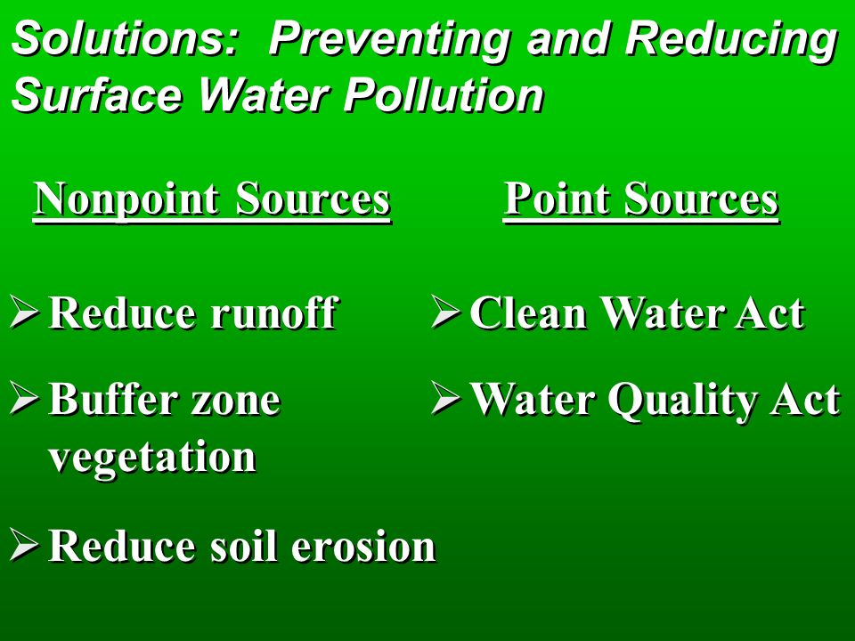 Solutions: Preventing and Reducing Surface Water Pollution