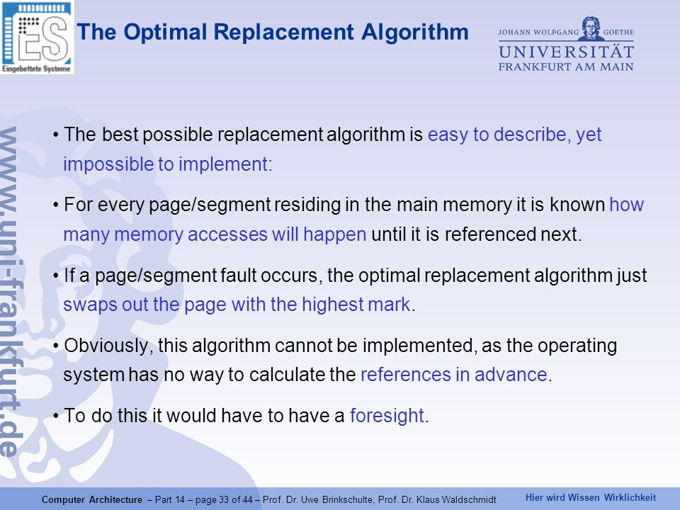 The Optimal Replacement Algorithm
