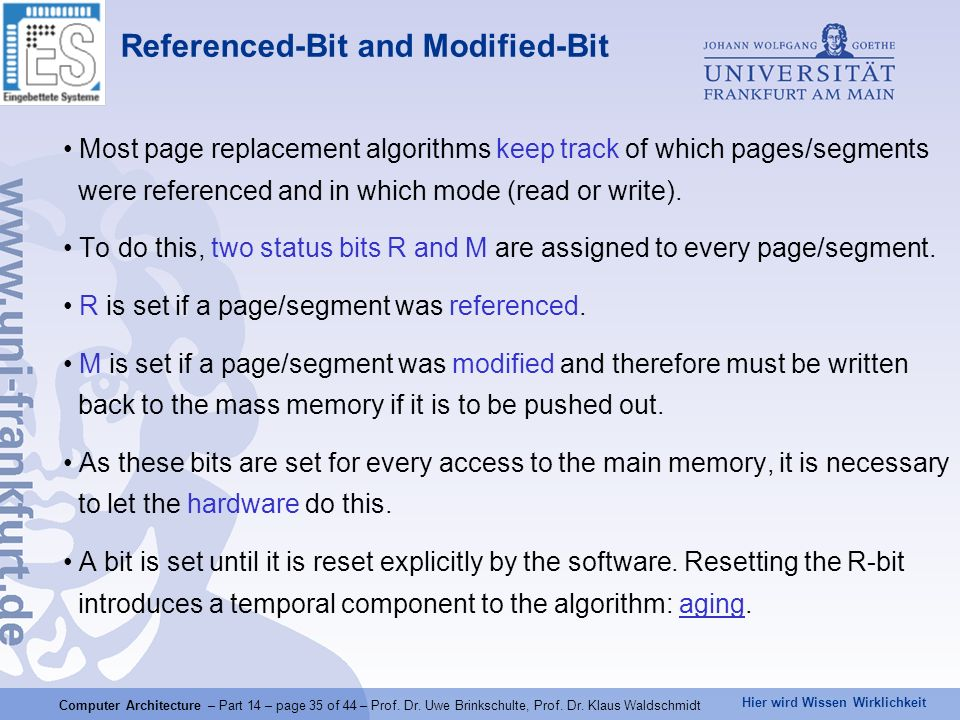 Referenced-Bit and Modified-Bit