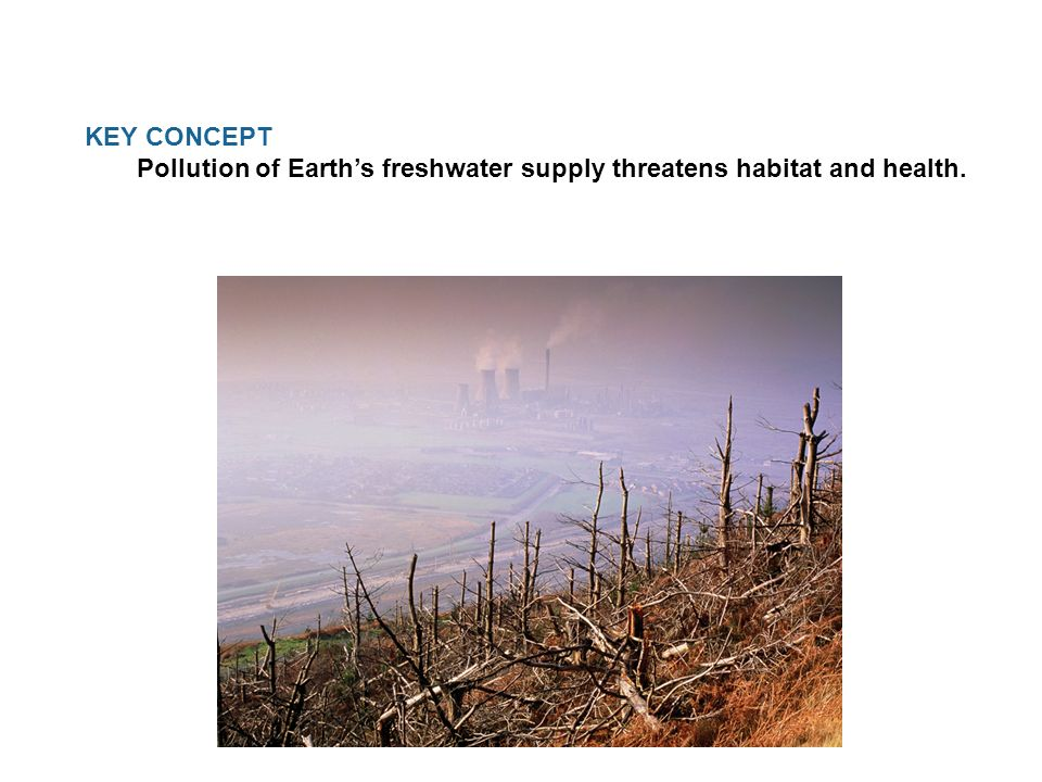KEY CONCEPT Pollution of Earth's freshwater supply threatens habitat and health.