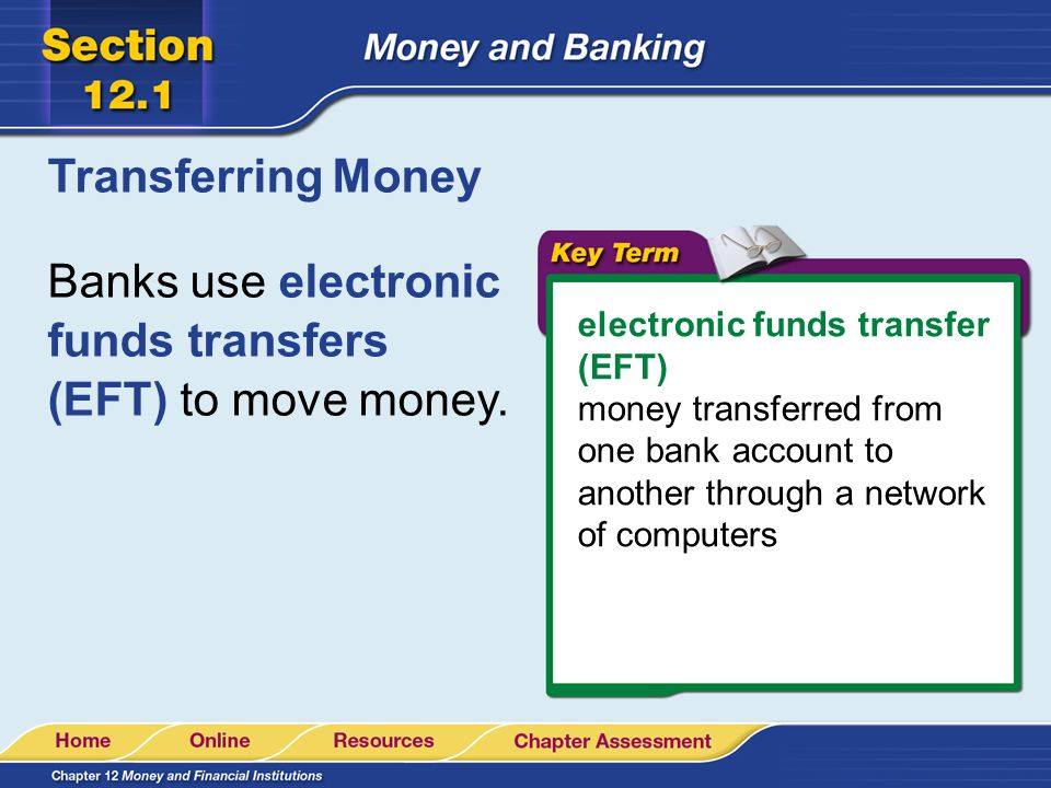 Banks use electronic funds transfers (EFT) to move money.