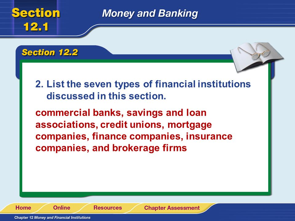 List the seven types of financial institutions discussed in this section.