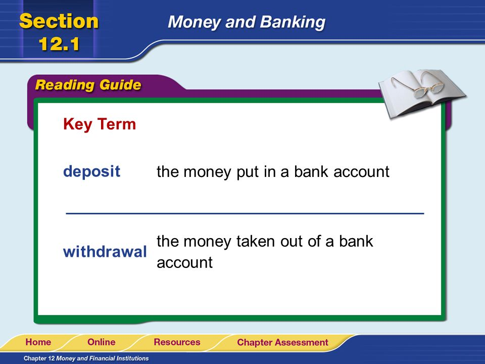 Key Term deposit the money put in a bank account the money taken out of a bank account withdrawal