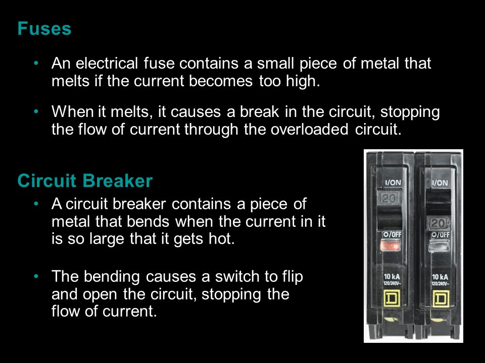 Fuses An electrical fuse contains a small piece of metal that melts if the current becomes too high.