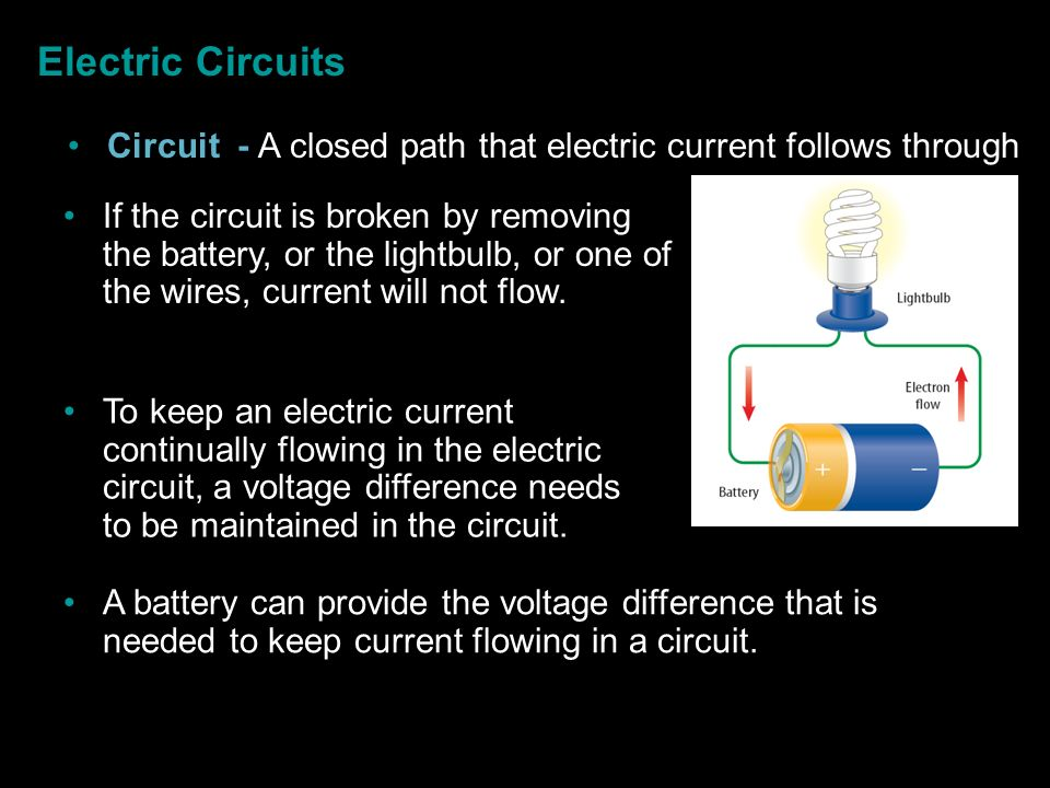 Electric Circuits Circuit - A closed path that electric current follows through.