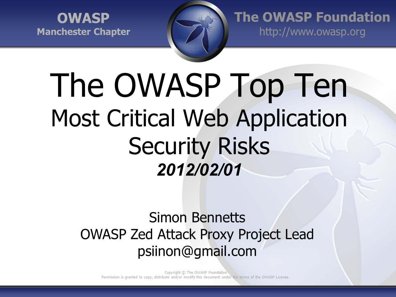 OWASP Zed Attack Proxy Project Lead