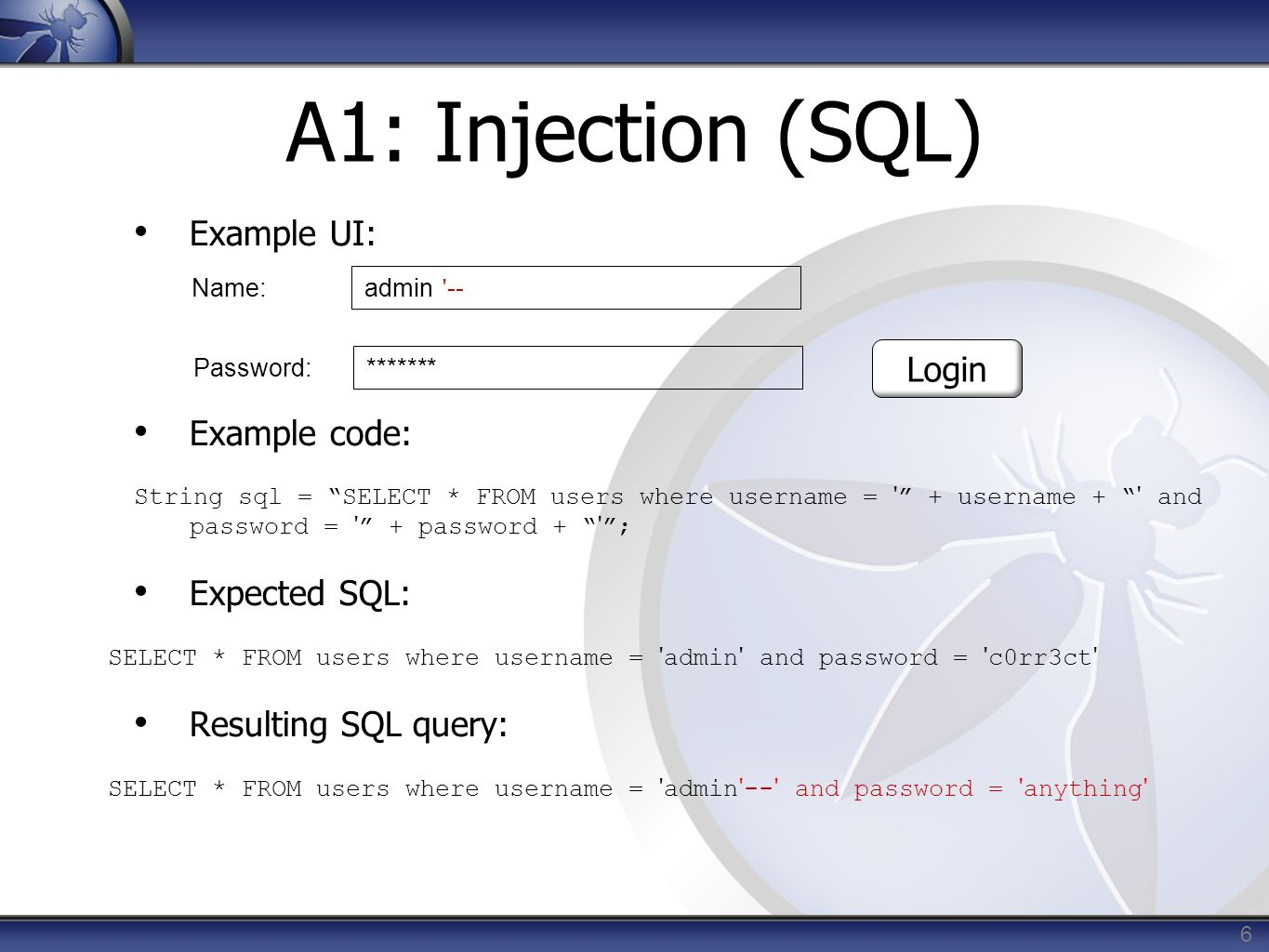 A1: Injection (SQL) Example UI: Example code: Login Expected SQL: